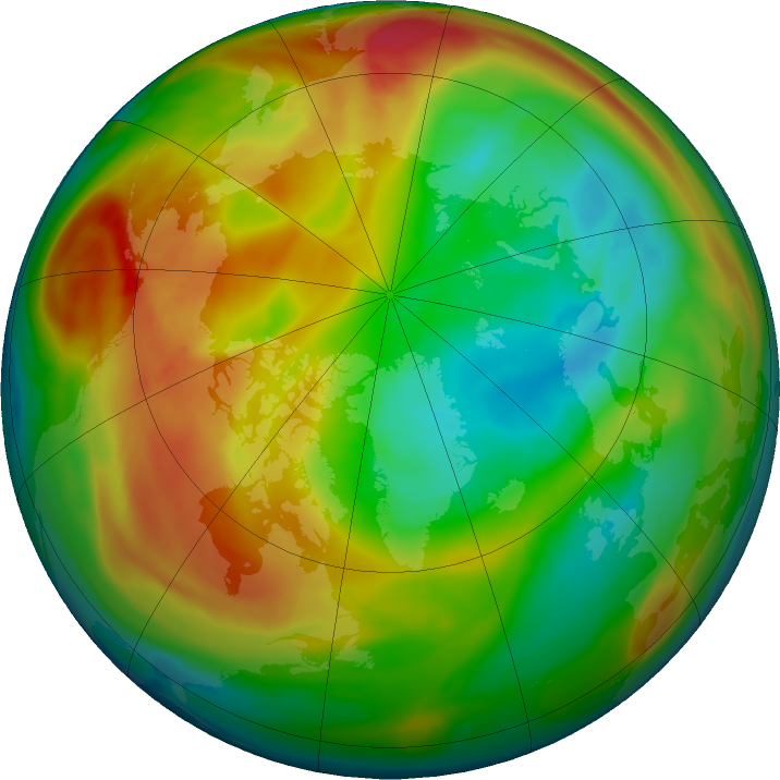 Arctic ozone map for 28 January 2018